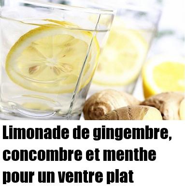 Limonade de gingembre, concombre et menthe pour un ventre