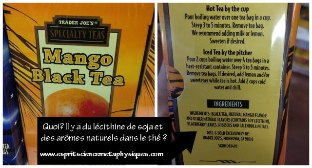 Quoi?… Pourquoi y-a-t-il de la lécithine de soja et des arômes naturels dans mon thé?