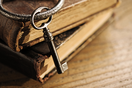 old keys on a old book