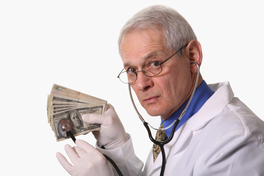 Senior Doctor examing money