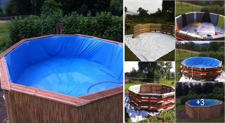 il a construit une piscine avec 10 palettes et 70 euros. Black Bedroom Furniture Sets. Home Design Ideas