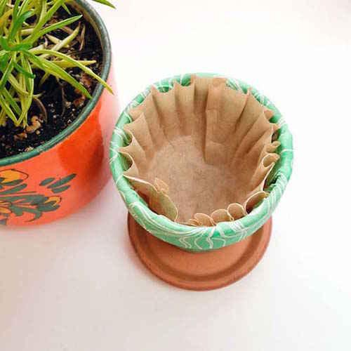 filtre-cafe-dans-pot-fleurs-retenir-eau