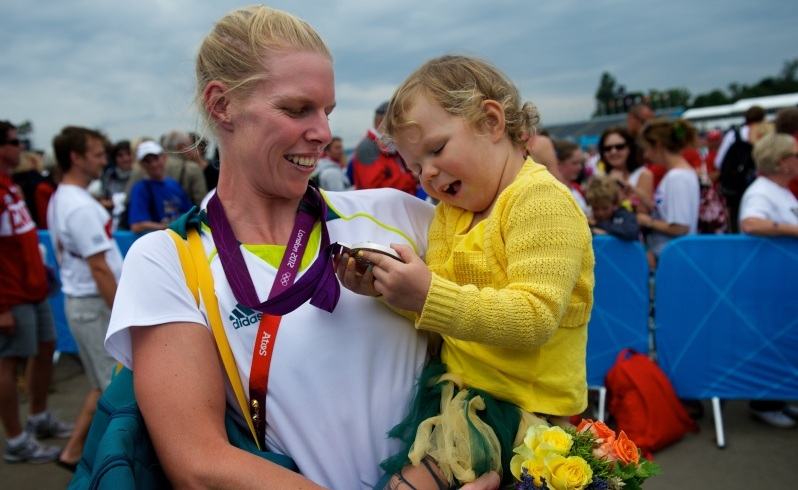 Olympics 2012. Rowing. Final of Womens Coxless Pair. Sarah Tait shows her daughter Leila Tait after winning silver at Eton Dorney an hour West of London. August 1st 2012. Photo by Jason South *** WAN ONLINE OUT ***